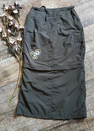 Легкая спортивная юбка миди/мини от jackwolfskin travel 2в1/хаки-xs-s