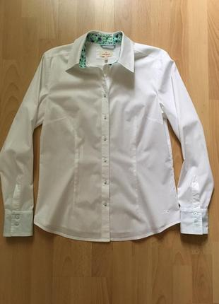 Белая приталенная рубашка daniel hechter jeans3 фото