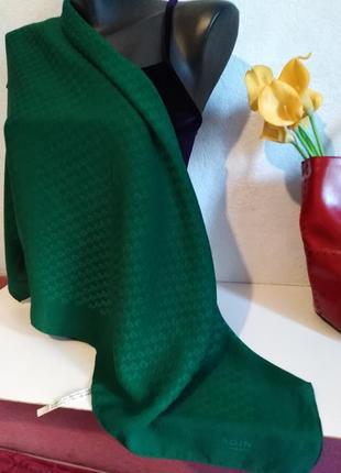 Натуральный шелк, зелёный подписной платочек, pierre cardin, 65*82