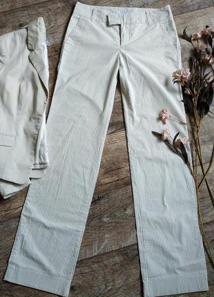 Бежевые базовые натуральные брюки штаны палаццо в полоску от zara