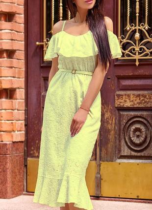 Натуральное летнее желтое платье из прошвы на бретелях с воланом (s, m, l, xl/5 цветов)