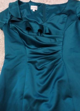 Элегантное  платье с драпировкой, на подкладке изумруд бренд kaliko 10/12р6 фото