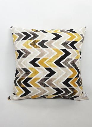 Декоративная подушка - геометрия, декоративна подушка, подушка желтая, подарок киев