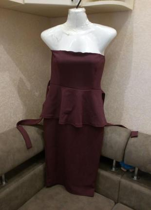 Платье  бандо с баской бренд boohoo-12/14р5 фото