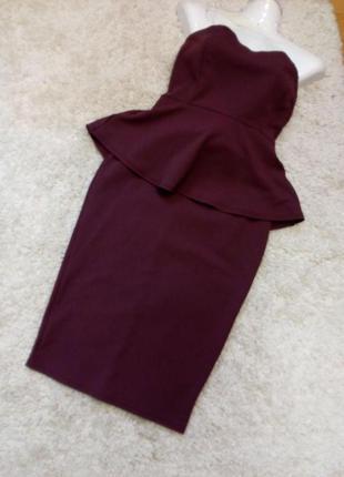 Платье  бандо с баской бренд boohoo-12/14р9 фото
