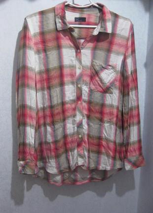 Очень мягкая классная рубашка gap в клетку розовая разноцветная вискоза длинная