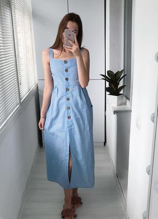 Шикарное макси платье в клетку лён
