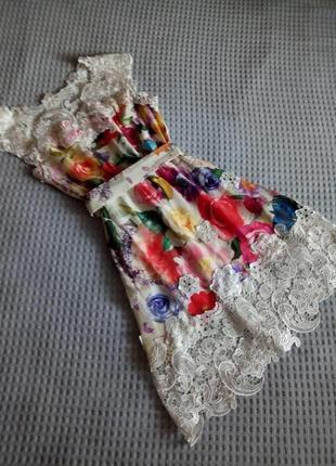 -20%% до 15.07. чудова сукня з шовку з мереживом