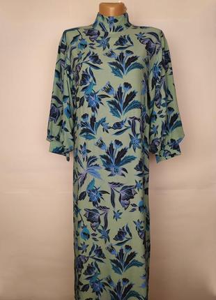 Платье новое натуральное стильное в цветы h&m uk 10/38/s
