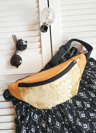 Бананка желтая, сумка на пояс, , с узорной вставкой, иск замш с текстилем