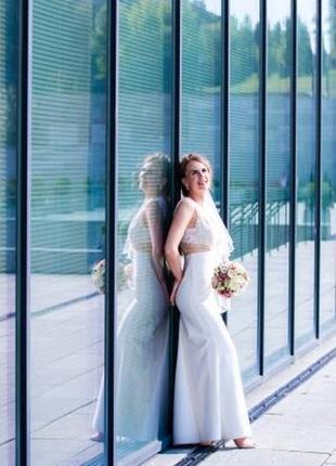 Эксклюзивное, очень стильное свадебное платье, xs/s