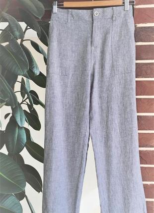 Новые льняные брюки с карманами  f&f брюки лен