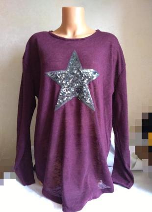 Легкий свитерок, пуловер, со звездой, паетки, бордо