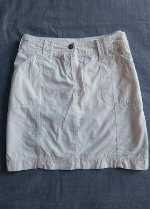 Лёгкая летняя белая мини юбка натуральный коттон
