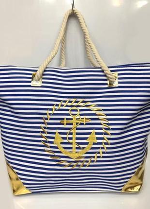 Пляжная сумка на канатных ручках якорь