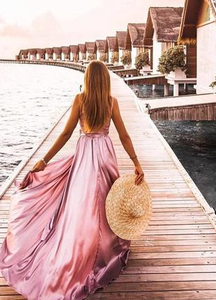 Шикарное сексуальное шелковое платье на выпускной в пол длинное лиловое разрез по ноге
