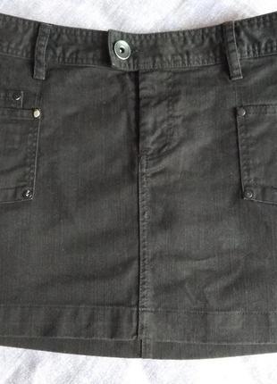 Джинсовая черная мини юбка