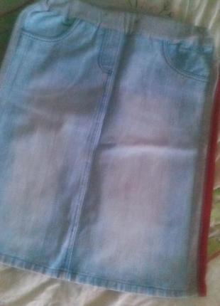 Супер джинсовая юбка с лампасами р.м