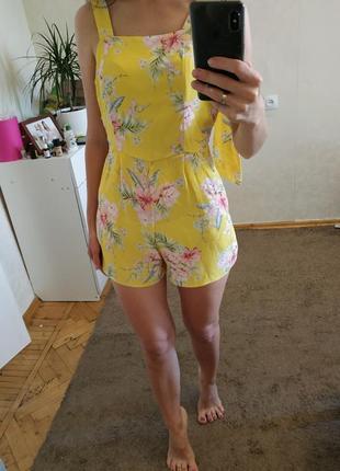 Женский ромпер,цветастый комбез, женский сарафан,комбинезон с шортами