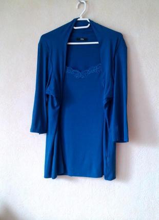 Новая стречевая блуза футболка с кружевной вставкой m&s 24 uk