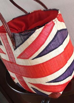 Соломенная пляжная сумка  шопер рафия британский флаг madagascar