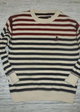 Хорошенький котоновый свитерок в полоску фирмы ребел на 3-4 года