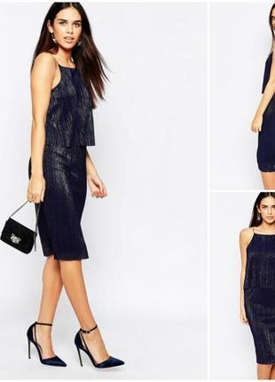 Стильное синее платье плиссе