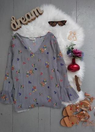 Актуальная блуза в полоску и цветы с воланами №168