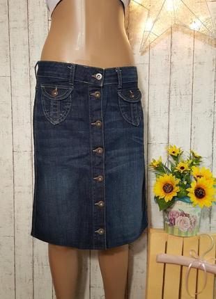 Стильная джинсовая юбка миди с пуговичками marks & spencer размер s - м