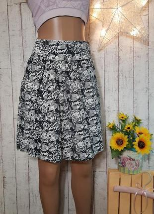 Стильная юбка а-силуэта с принтом розы из натуральной хлопковой ткани р. xs – s