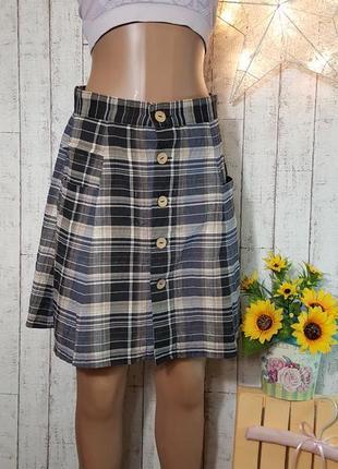 Деловая школьная юбка в клетку с пуговичками р. м на учебу на работу