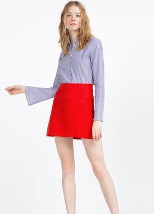 Новая красная качественная брендовая котоновая хлопковая юбка трапеция h&m р. м