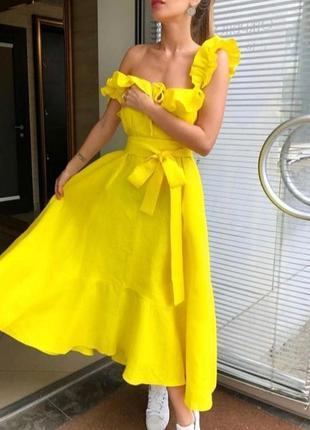 Хит модный летний лляной сарафан желтый миди натуральный