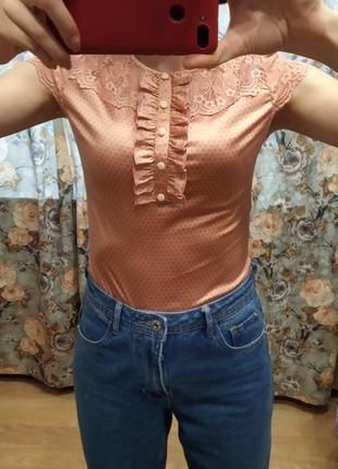 Классный боди ,блуза персикового цвета размер s