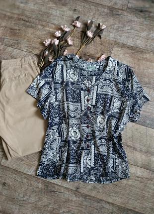 Винтажная блуза от frey(франция)/темно синяя с бежевым принтом-l-ка