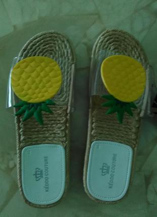 Шлепки пляжные сланцы прозрачные хит ананас