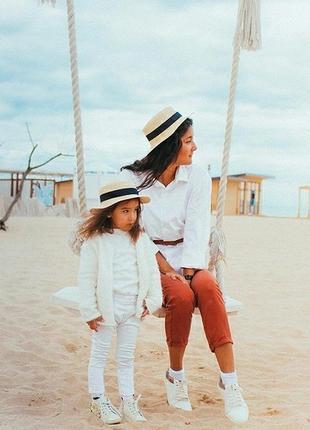 Детская и взрослая шляпка канотье