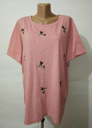 Розовая модная футболка в вышивку птички большой размер george uk 24/52/5xl