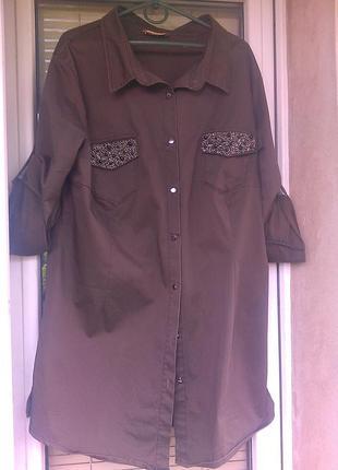Шикарная рубашка/платье милитари luizza турция 48-52
