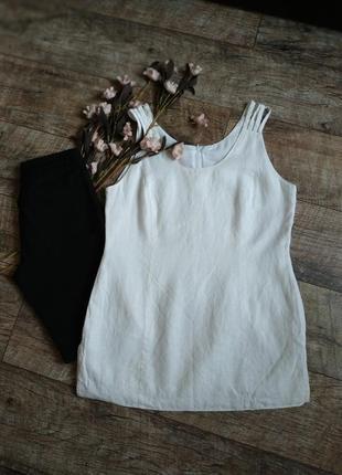 Белая блуза из льна,без рукавов/по фигуре