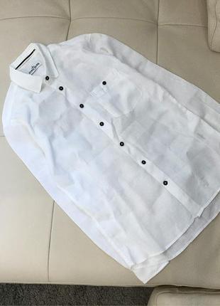 Белая мужская льняная рубашка stone island, оригинал