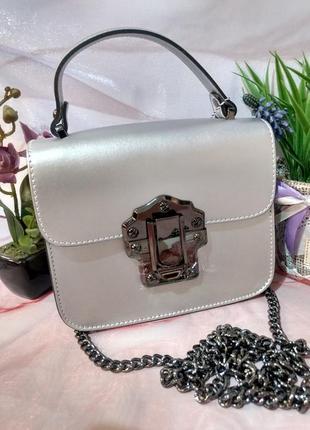 Красивая сумочка серебристого цвета