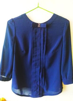 Шифоновая лёгкая синяя  блузка