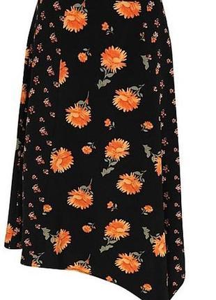 Летняя юбка в цветах с разрезом интересный крой 14/48-50 размера