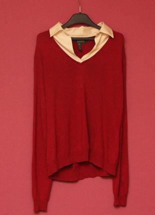 Polo ralph lauren рр xl свитер из шелка и кашемира, шёлковый вороткик