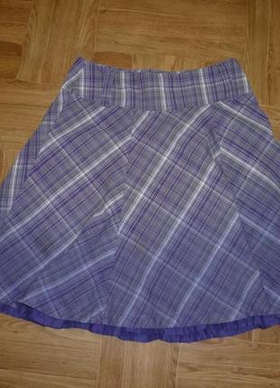 Фирменная летняя коттоновая юбка в клеточку,клеш,подъюпник с оборкой