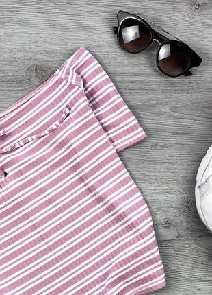 Крутая футболка /кроп с спущенными плечами в полоску  4xl primark2 фото