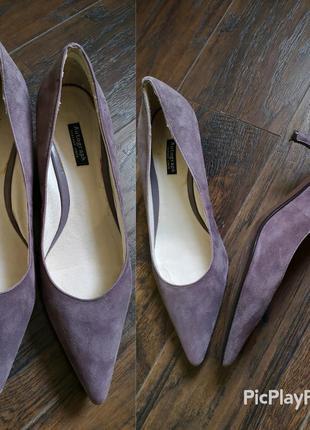 Туфли лодочки натуральная кожа и замша на низком каблуке