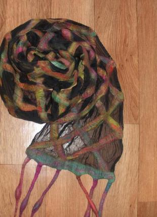 Эксклюзивный шарф pomegranate moon шелк шерсть ручная работа /202*27 см