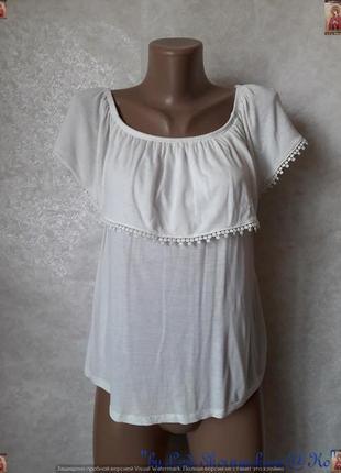 Новая фирменная amisu блуза с воланом обшитым кружевом, размер с-м
